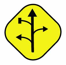 Road sign pointing in many directions