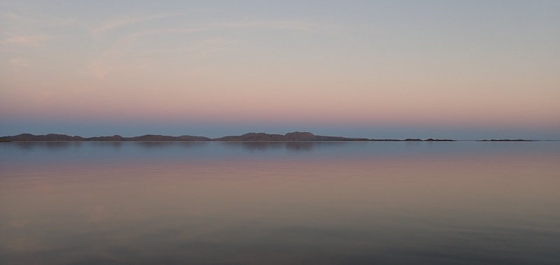Sunset over Lake Argyle. I have not fiddled with the colour in this picture at all. This is what it looked like!