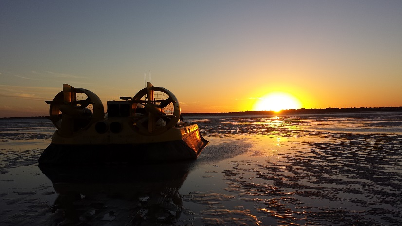 The dinosaur discovery hovercraft tour ends with champagne and a sunset!